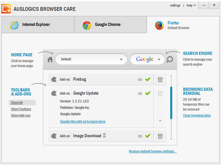 Auslogics Care Browser